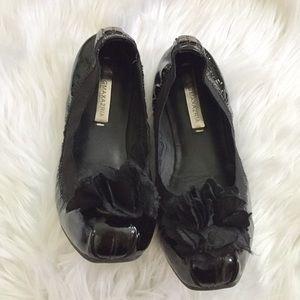 BCBG Maxazria Black Leather Ballet Flats